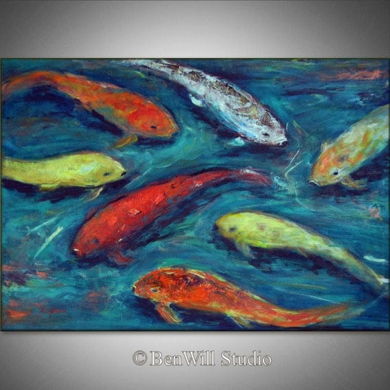 Original koi fish art large abstract impressionism by benwill for Original koi fish