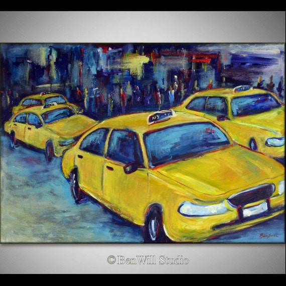 New York City Painting ORIGINAL Yellow TAXI Painting - Large Modern Pop Art Painting - 40x28 by BenWill