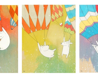 Hot Air Balloons - Set of Three Prints