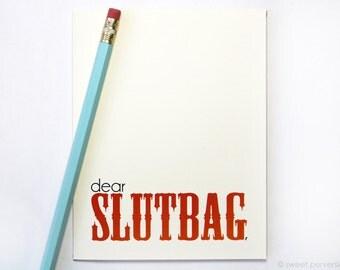Snarky Greeting Card. Dear Slutbag. Blank Card. New Mom Card. Baby Shower Card. Friendship Card.