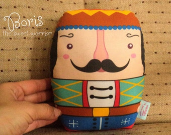 "Boris -- "" the sweet warrior ""-- russian art doll style-- med size -- doll/pillow/decorative plush/softie decor- (ship in 3 days)"