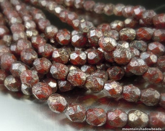 Czech Glass Bead 6mm Faceted Round Bead - Faceted Round Beads Oxblood Copper Stone Picasso - 25 (G - 470)
