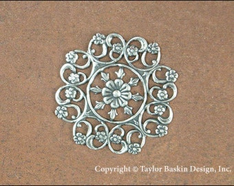 Antiqued Sterling Silver Plated Victorian Filigree Flower Component (item 8468 AS) - 4 Pieces