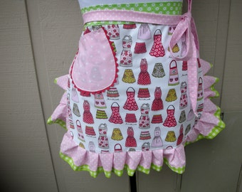 Aprons - Womens Half Aprons - Kiss the Cook Apron Fabric - Kitchen Chis Apron - Pink Aprons - Red Aprons - Handmade Aprons