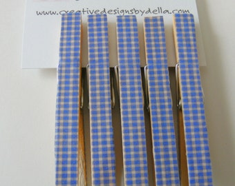 Clothespin Clip Wood Blue Gingham Full Size Kitchen Office Home Decor Set of 5  Magnet Option