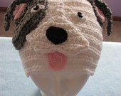 Adult Size White Pit-Bull Hat With Patch Over One Eye Adult Sized Hat
