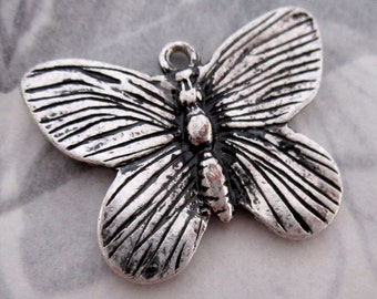 3 pcs. silver tone casted 2 sided butterfly charm 28x22mm #f4296
