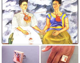 Frida Kahlo Vintage Scrabble Letter Tile Adjustable Ring - two Fridas  - scrabble jewelry - Frida Kahlo jewelry
