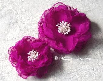 Wedding Sash Flower Accessories, Bridesmaid Flowers, Bridal Hair Flowers, Wedding Hair Clips, Bridal Accessories - In Plum Fuchsia Chiffon
