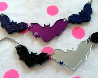 Batty Necklace in Black or Purple