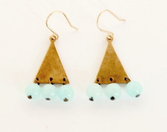 Little Pale Jade and Brass Triangle Dangle Earrings