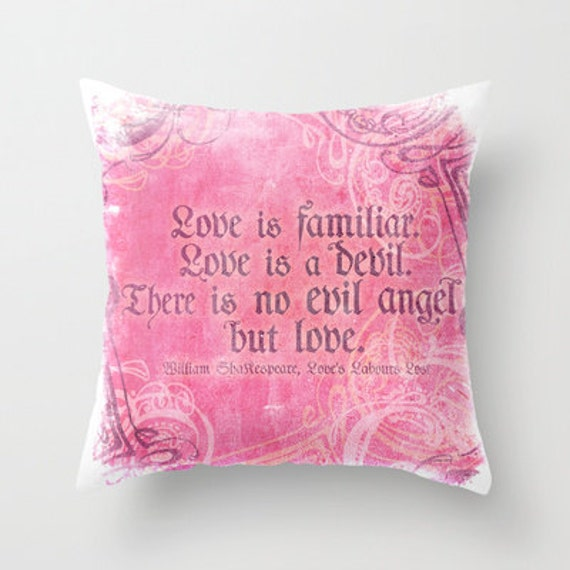 Decorative Pillows With Quotes : Items similar to Love Quotes Shakespeare Pillows, Decorative Pillows and Pillow Covers on Etsy