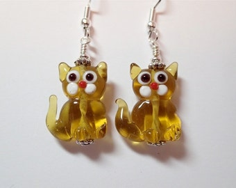 Topaz Glass Kitty Cat Earrings  Silver  Meow