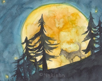 Original Art - The Moon - Watercolor Fox Painting -The Badgers Forest Tarot