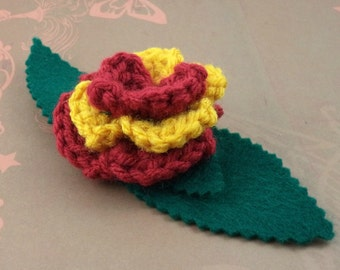 Crocheted Rose Bar Pin - Red and Gold (SWG-PS-HWGR01)