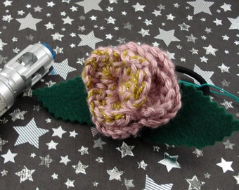 Rose Tyler - Crocheted Rose Ponytail Holder - Dusky Rose and Gold (SWG-HP-DWRT01)