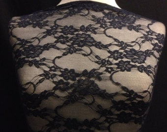 Floral  Stretch Lace Fabric 1 Yard Navy Blue