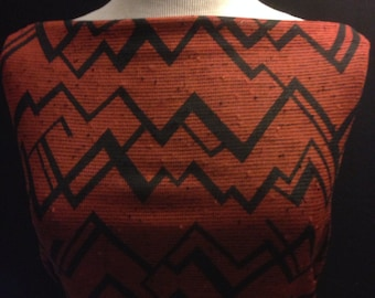 Stretchy Polyester Knit Fabric  AbstractChevron Pattern 3/4 Yard Remnant