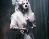 Fascinator - White Fascinator with Veiling Headpiece - Cholera
