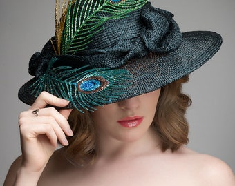 Black Straw Hat -  Kentucky Derby Hat - Sinamy Hat - Easter Hat