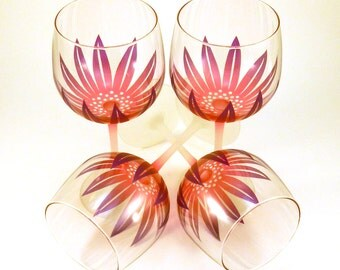 Wildflower Wine Glasses - Etched and Painted Glassware - Custom Made to Order