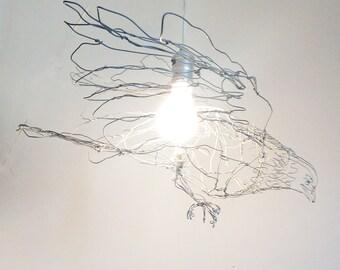 "Bird Chandelier 25"" wingspan-Wire Drawing Sculpture Art"