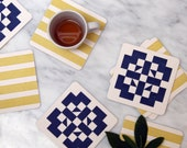 Indigo & Ocher Mosaic Tile Inspired: Reusable Letterpress Paper Coasters (sets of 4 or 10)