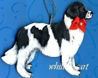 Custom Newfoundland Landseer Handpainted Christmas Ornament