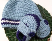 Baby Boy gift Set-Blue with Dark Blue and White-Beanie and Loafers--Baby shower gift--#123