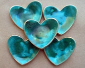 FIVE  Ceramic Heart ring bowls itty bittys Malachite Green edged in gold