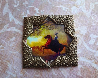 Equestrian Sidesaddle Pin Pendant  Desk Art Home before dawn