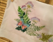 Hand Embroidered Pillow cases Butterflies  and Fern Pillow Cases   Multi Color