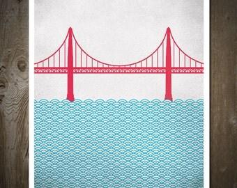 San Francisco Golden Gate Bridge, City Print, City Poster, City Wall Art
