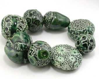 Dark Green Emerald Ceramic Bead Set
