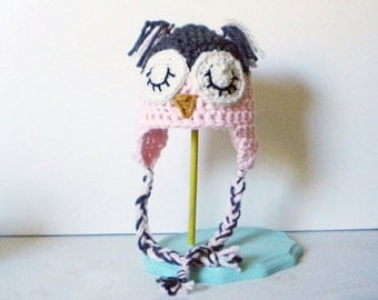 Crochet Owl Hat for Kids and Adults - Adorable Animal Hat with Ears in Soft Pink and Gray with Cream Sleeping Eyes