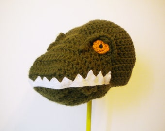 Crochet Tyrannosaurus Rex Hat - Dinosaur Hat in Olive Green with Yellow Eyes - Cartoon Halloween Costume Hat