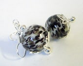 White, Black, Copper, and Olive Speckled Hand-Blown Glass Earrings on Surgical Steel