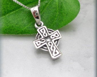 Celtic Cross Necklace, Sterling Silver, Irish Jewelry, Religious Necklace, Easter Necklace, Easter Gift, Silver Pendant (SN813)