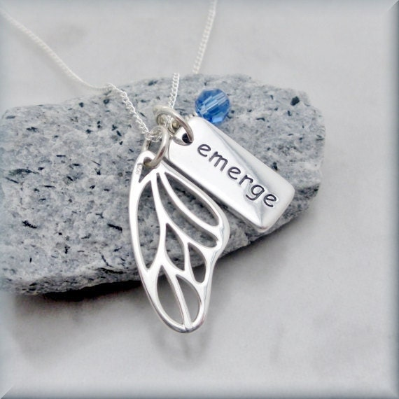 Inspirational Quote Necklace Butterfly Wing Jewelry Emerge Friendship Jewelry Personalized Graduation Gift Birthstone Sterling (SN678)