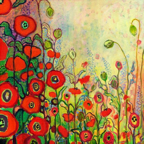 """Red Poppies - """"Memories of Grandmother's Garden"""" - Fine Art Print by Jenlo"""