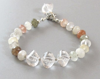 Rutilated Quartz Bracelet Rose Quartz Sterling Silver DJStrang Gemstone Boho Cottage Chic