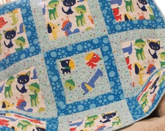 Baby Quilt, baby blanket, Boy, Girl, patchwork quilt, Puppies, Kittens, Cats, Blue, toddler quilt, toddler blanket, quilted