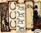 Horse Country Chic 1x3 inches Vintage English Riders Horseshoes Microscope slides -- 4x6 inch sampler -- piddix digital collage sheet 1066