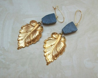 Gold and Blue Coral Leaf Earrings