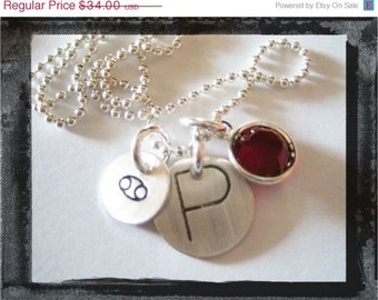 Hand Stamped Sterling Silver Charm INITIAL Necklace Choose ZODIAC Stamp and BIRTHSTONE
