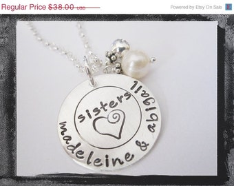 Personalized Sister Necklace - Hand Stamped Jewelry - Sterling Silver