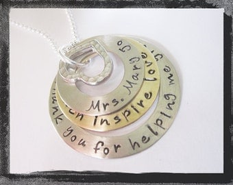 Personalized Teacher Necklace - TEACH INSPIRE GROW -  Mixed Metals Necklace for Teachers,Coaches and Mentors too