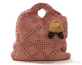 Vintage Crochet Tote Bag with Rosette / Rose Pink