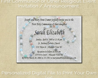 Rosary Themed Invitation / Announcement for First Communion, Baptism, or Confirmation
