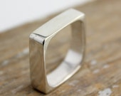 Simple Square Silver Band Ring
